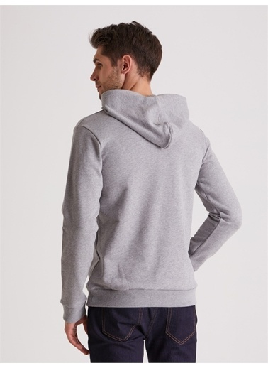 Dufy Düz Kapüşonlu Erkek Sweatshirt - Regular Fit Gri